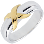 sales on line Yellow Gold and White Gold Sign Ring - 18 carats