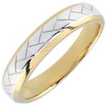 on-line buy Yellow Gold and White Gold Weave Wedding Band