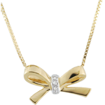 gift women Yellow Gold Carlotta Bow Necklace