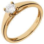 present Yellow Gold Diadème Solitaire Ring
