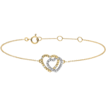 gift woman Yellow Gold Diamond Bracelet - Consensual Hearts - 9 carats