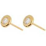 gift woman Yellow Gold Doll Solitaire Stud Earrings