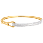 gifts women Yellow Gold Double union bangle/bracelet - 0.32 carat - 54 diamonds