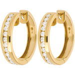 gifts woman Yellow gold hoops mounted with diamonds - 0.43 carat - 24 diamonds