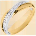 Yellow gold Miria Wedding ring -White gold pavement setting - 7 diamonds - 18 carats