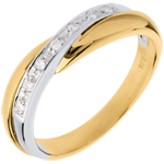 present Yellow gold Miria Wedding ring -White gold pavement setting - 7 diamonds - 18 carats