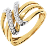 gift Yellow Gold Music from Space Ring - 6 Diamonds