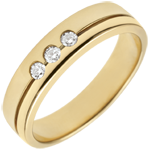 Yellow Gold Olympia Trilogy Wedding Band - Average Model