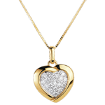 sell Yellow Sweetheart Pendant - 18 Diamonds