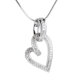 Zawieszka Przechylone Serce - 0,31 karata - 52 diamenty - złoto białe 18-karatowe