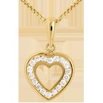 Zawieszka Serce w sercu - złoto żółte 18-karatowe wysadzane diamentami - 18 diamentów - 0,18 karata