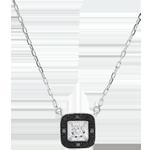 Zwarte diamanten halsketting Obscuur Licht - wit goud - 0.03 karaat