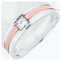 خاتم ثلاثي الصفوف من الألماس 0.062 قيراط ـ من الذهب الأبيض و الذهب الوردي 9 قيراط