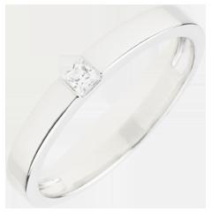 خاتم سوليتير إيپير پرنسيس ـ الماس 0.08 قيراط ـ من الذهب الأبيض 9 قيراط
