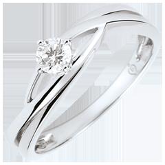 خاتم سوليتير العش الثمين ـ دوڢا ـ الألماس 0.15 قيراط ـ الذهب الأبيض 9 قيراط