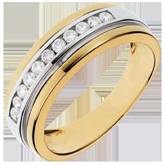 خاتم سوليتير فييري ـ 0.24 قيراط ـ 11 ماسة ـ ذهب أبيض وذهب أصفر عيار 18 قيراط