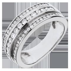 خاتم فيري ـ ڢوا لاكتي ـ 0.63 قيراط ـ 52 ماسة ـ الذهب الأبيض 18 قيراط