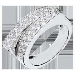 خاتم فييري ـ دوبل دستان ـ 0.68 قيراط من الألماس ـ ذهب أبيض عيار 18 قيراط