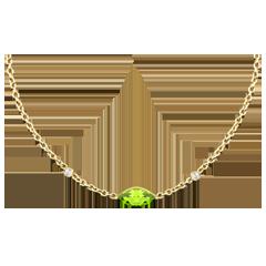 Halskette Auge des Orients - Peridot und Diamanten - 9 Karat Gelbgold