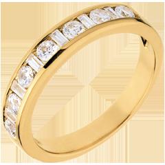 Alianza oro amarillo semi empedrado - engaste raíl - 0.65 quilates - 0.65 quilates - 8 diamantes