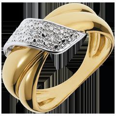 Bague Boucle d'Or or jaune pavée - 6 diamants