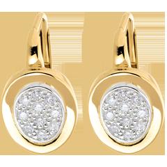 أقراط من الذهب الأصفر عيار 18 قيراط و الذهب الأبيض المرصوف ـ 0.24 قيراط ـ 20 ماسة