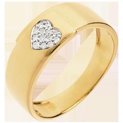 خاتم قلب دائري من الذهب الأصفر عيار 18 قيراط ـ 13 قطعة من الألماس