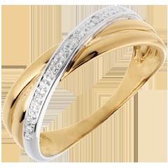 Anello Saturno Duetto variazione - oro giallo - 4 diamanti