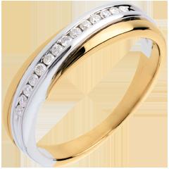Fede nuziale oro giallo-oro bianco incastonatura Binario - 14 diamanti
