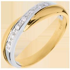 Fede nuziale oro giallo-oro bianco incastonatura Binario - 7 diamanti