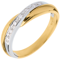 Alianza oro amarillo-oro blanco engaste raíl - 7 diamantes