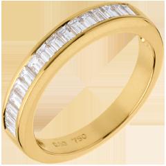 Fede nuziale oro giallo semi pavé - incastonatura Binario  - 0.5 carati