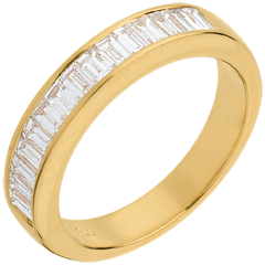 Alianza oro amarillo semi empedrado - engaste carril - 0.75 quilates