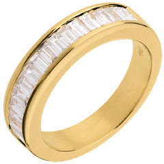 Alliance or jaune semi pavée - serti rail - 1 carats