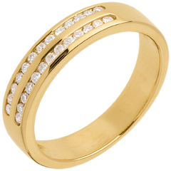 Wedding ring gold semi-paved double channel setting  - 0.21 carat - 26 diamonds