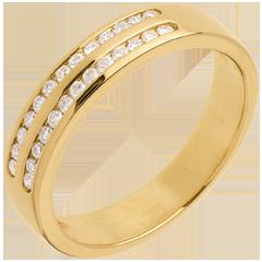 Alliance or jaune semi pavée - serti rail 2 rangs - 0.21 carats - 26 diamants