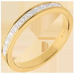 Alianza oro amarillo semi empedrado - engaste raíl - 0.5 quilates - 13 diamantes