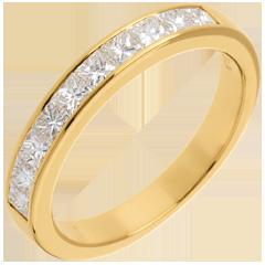 Fede nuziale oro giallo semi pavé - incastonatura Binario - 0.7 carati - 10 diamanti