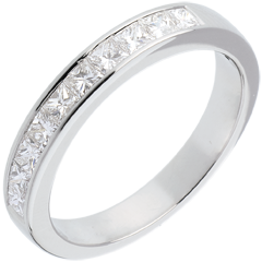 Alianza oro blanco semi empedrado - engaste raíl - - 0.8 quilates - 10 diamantes