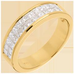 Trauring zur Hälfte mit Diamanten besetzt in Gelbgold - Kanalfassung 2-reihig - 1 Karat