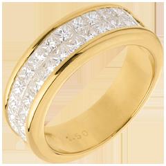 Alliance or jaune semi pavée - serti rail 2 rangs - 1.5 carats