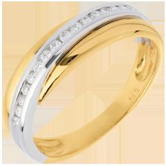 Alianza oro amarillo-oro blanco semi empedrado - 16 diamantes