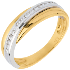 Alliance or jaune-or blanc semi pavée - 16 diamants