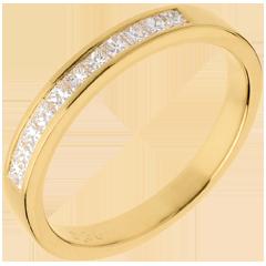 Alianza oro amarillo semi empedrado - engaste raíl - 0.31 quilates - 11 diamantes