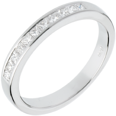 Fede nuziale oro bianco semi pavé - incastonatura Binario - 0.31 carati - 11 diamanti