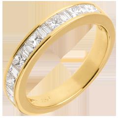 Alianza oro amarillo semi empedrado - engaste raíl - - 0.7 quilates - 13 diamantes