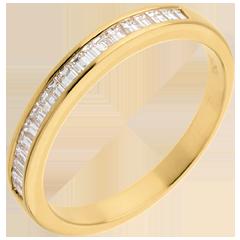 Alianza oro amarillo semi empedrado - engaste carril  - 0.3 quilates