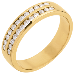 Half eternity ring gold semi-paved double channel - 0.36 carat - 24 diamonds