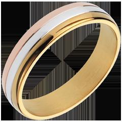 خاتم زواج غراڢيتاسيون ـ ثلاثة ألوان من الذهب 18 قيراط