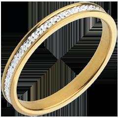 خاتم زواج باندورا من الذهب الأبيض والذهب الأصفر عيار 18 قيراط